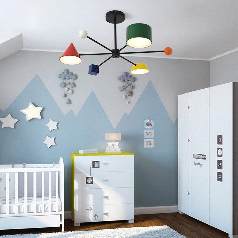 Image 3 - Artpad 30 Вт Светодиодная Подвесная лампа индивидуальная металлическая цветная детская комната геометрические блоки искусство тусклый 3 головки потолочные светильникиПодвесные светильники    АлиЭкспресс