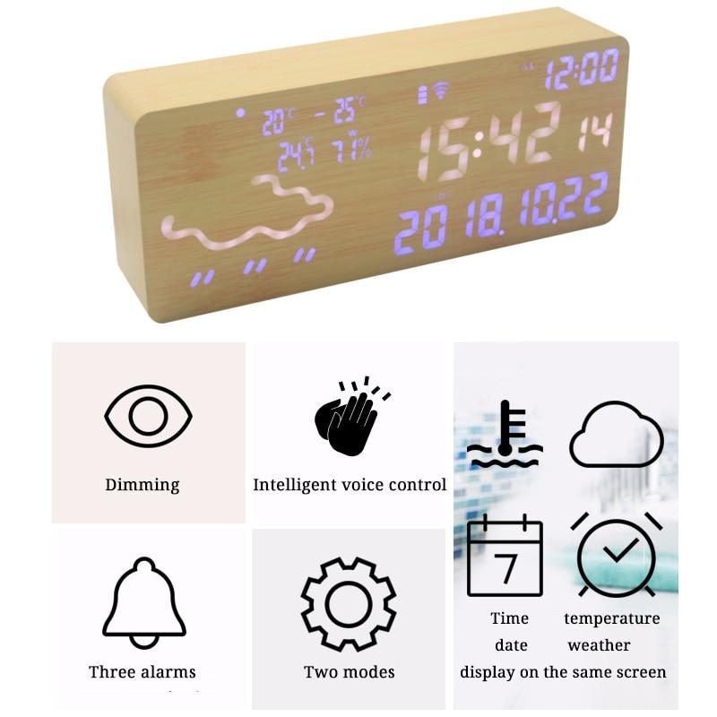 Réveil intelligent numérique électronique prévision météo commande vocale thermomètre hygromètre Wifi connexion Led silencieux Snooze - 2