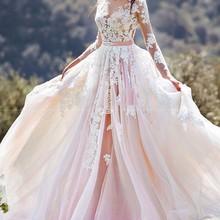 Розовые Свадебные платья трапециевидной формы из тюля с кружевной аппликацией для шеи, свадебное платье с длинным рукавом, размер на заказ