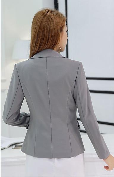 Hot Blazer Women New 2020 Gray Jackets Suit Slim Plus Size Ladies Blazers Work Wear Jacket One Button Suit Female LX512