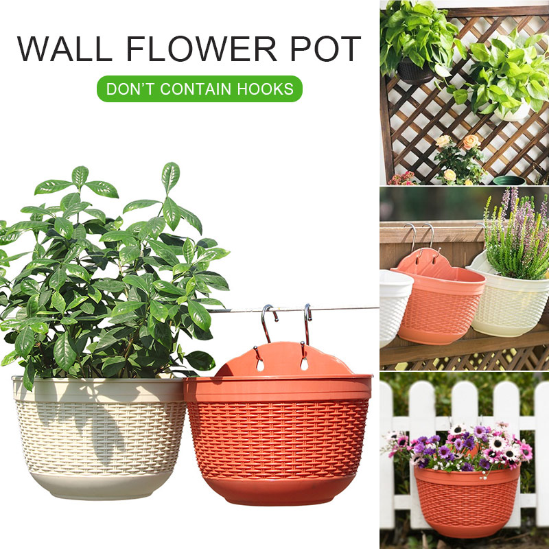 Imitation Rattan Weaving Creative Flower Planter Wall Hanging PP Garden Pot Flowerpot
