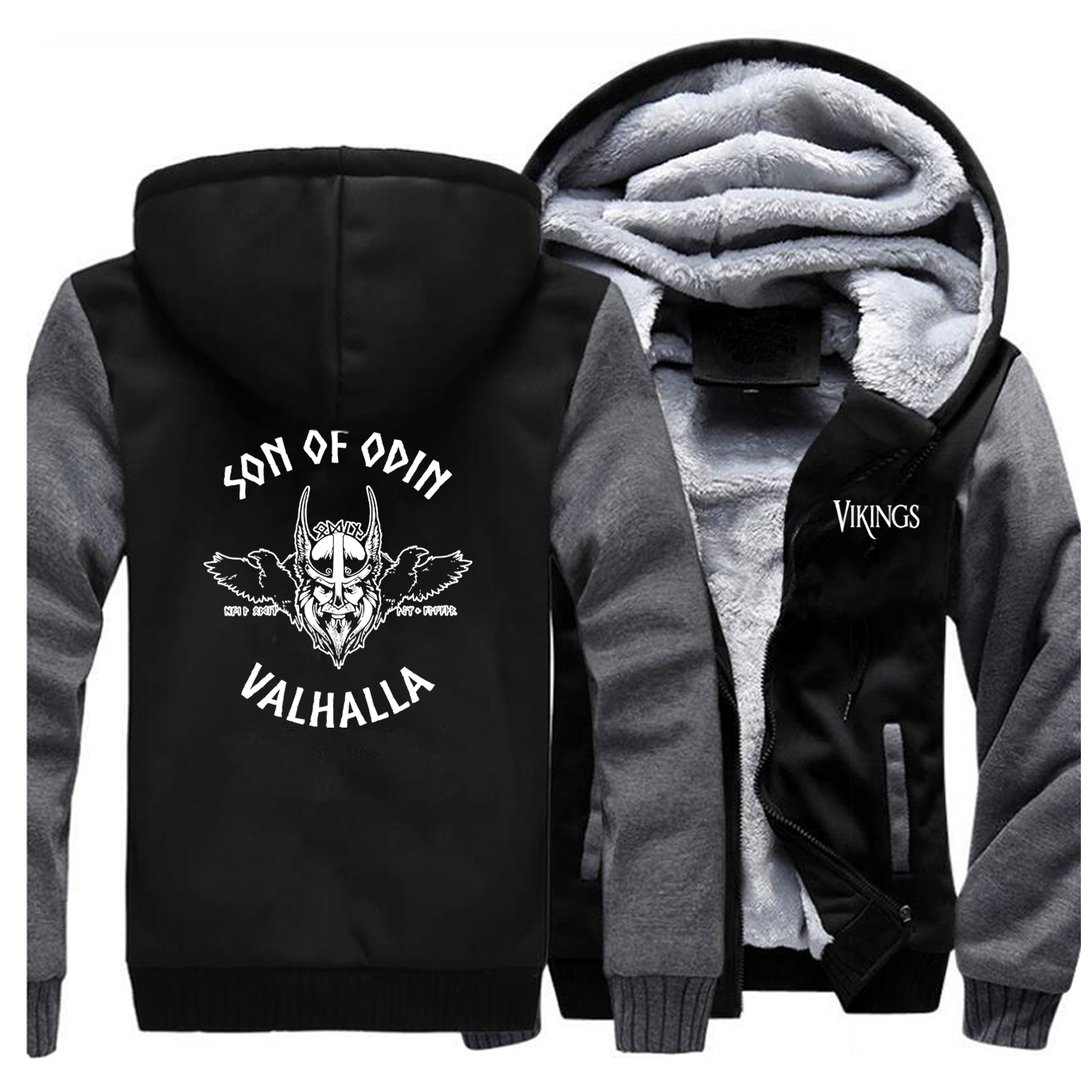 Son Of Odin Valhalla Mens Hoodie 2019 Autumn Winter Thick Streetwear Clothing Newest Brand Fashion Male Outwear Zipper Warm Coat