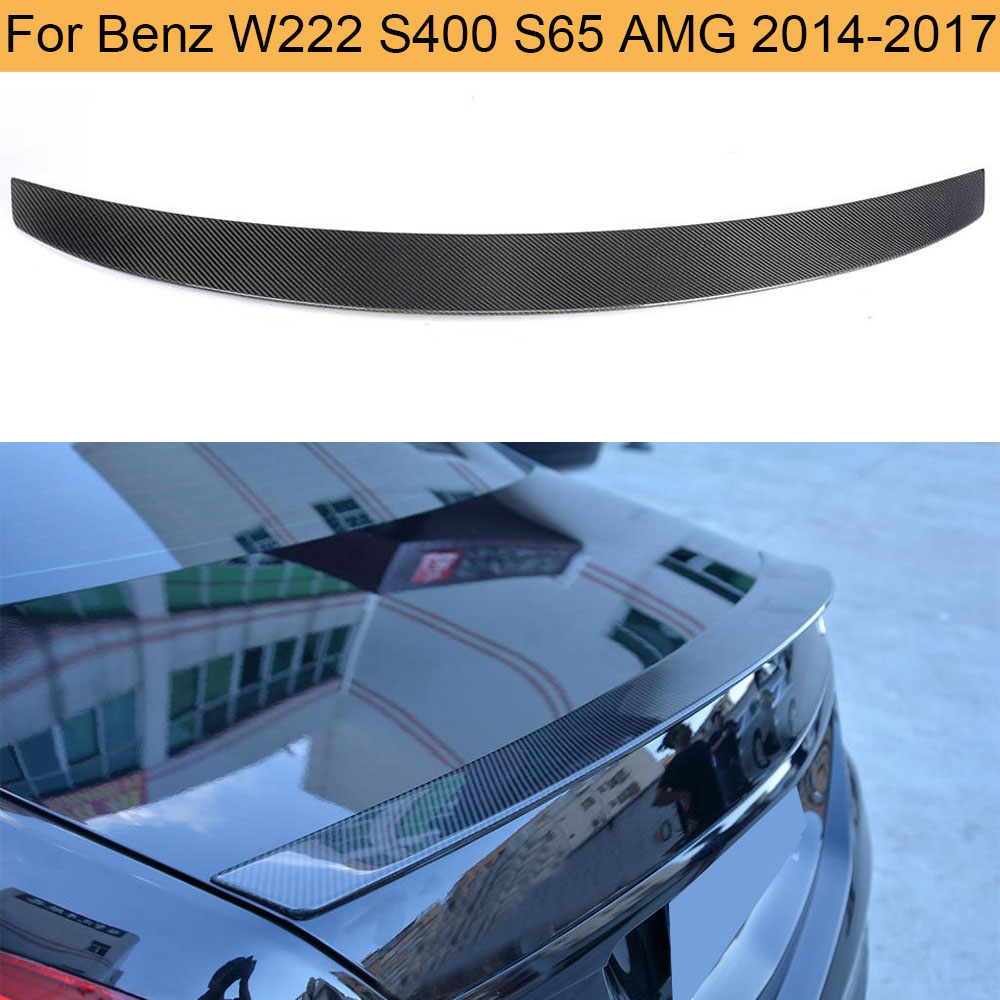 Carbon Fiber Car Rear Trunk Spoiler for Mercedes Benz S Class W222 S400 S65 AMG 2014-2017 Rear Trunk Lip Spoiler Wing Boot Lip image