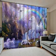 white horse 3D Curtain Luxury Blackout Window Living Room kids curtains rainbow castle curtain