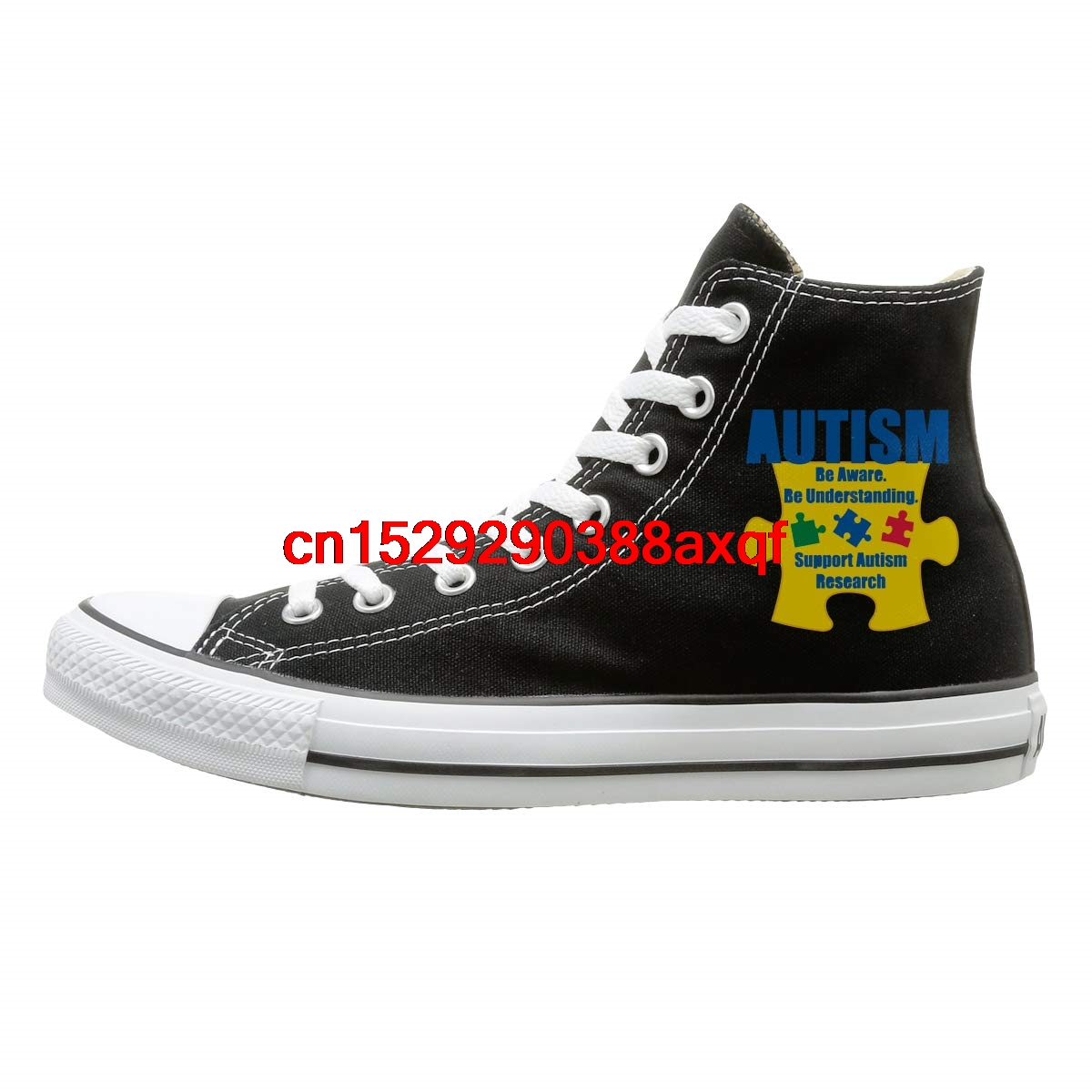 Canvas High Top Sneaker Casual Skate Shoe Mens Womens Autism Awareness Puzzle Butterfly