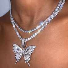 Butterfly Necklace Hip Hop Jewelry Women Crystal Tenis Pendant Butterfly Charms Necklaces