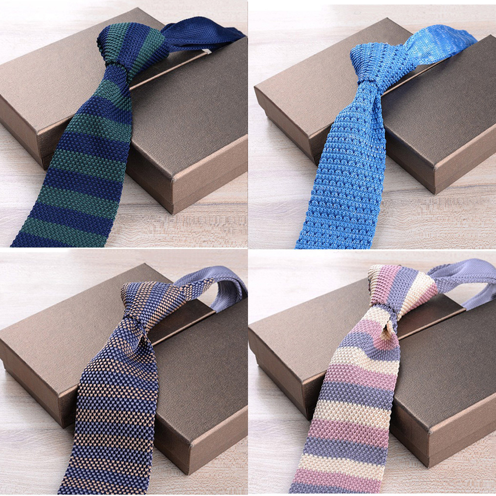 New 6cm Slim Knit Tie For Men Leisure Business Skinny Necktie Navy Bule Colorful Striped Floral  Fashion Weave Ties Accessories
