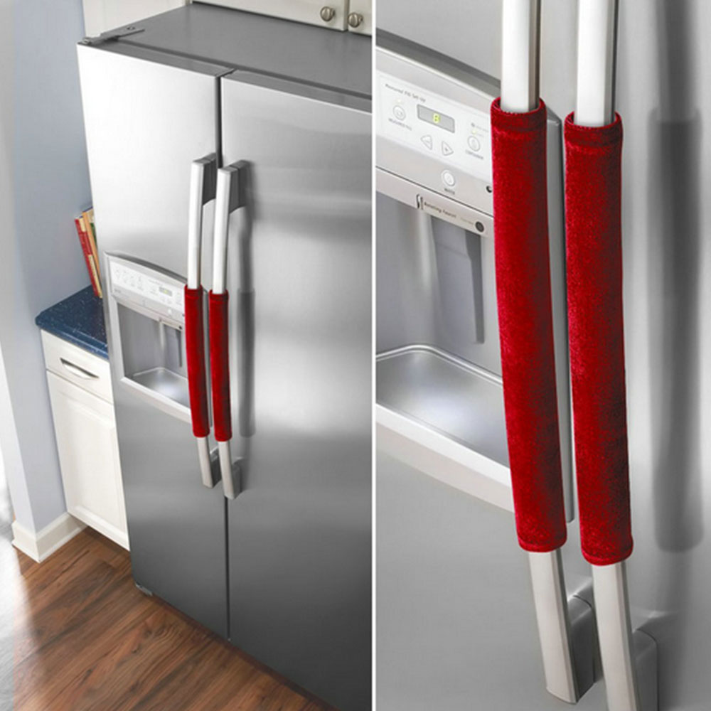 Economic Fridge Handle Covers 2PCS Cupboard Flannelette Creative Clean Refrigerator Handle Cover Refrigerator Door Gloves