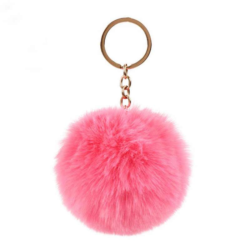 8cm Simples Pompom Chaveiro bola De Pêlo de Coelho Artificial Peles De Animais Saco Acessórios Do Carro Chave Anel Chave de Cadeia Para A Mulher 15 cores