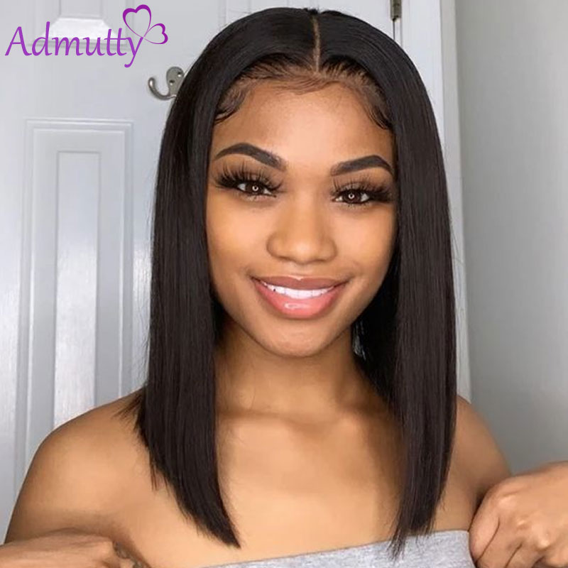 Short Human Hair Wigs Peruvian Straight Bob Wig Lace Front Human Hair Bob Wigs Pre-Plucked Baby Hair HD Transparent Lace Wig