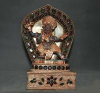 wedding decoration Tibet lapis lazuli Filigree silver Gilt Inlay gem 4 arms Mahakala Buddha statue