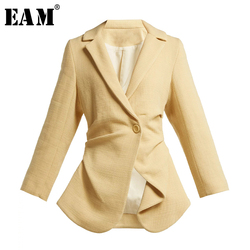 Женская Асимметричная куртка [EAM], черная Свободная куртка с отложным воротником и длинным рукавом, весна 2020 LI197