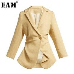 Женская ассиметричная куртка EAM, черная Свободная куртка с длинным рукавом и отложным воротником, модель LI197 на весну 2020