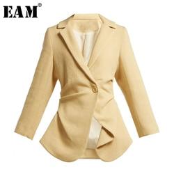 [EAM] Loose Fit Black Asymmetrical Split Joint Short Jacket New Lapel Long Sleeve Women Coat Fashion Tide Spring 2020 LI197
