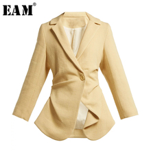 [EAM] Loose Fit Black Asymmetrical Split Joint Short Jacket New Lapel Long Sleev