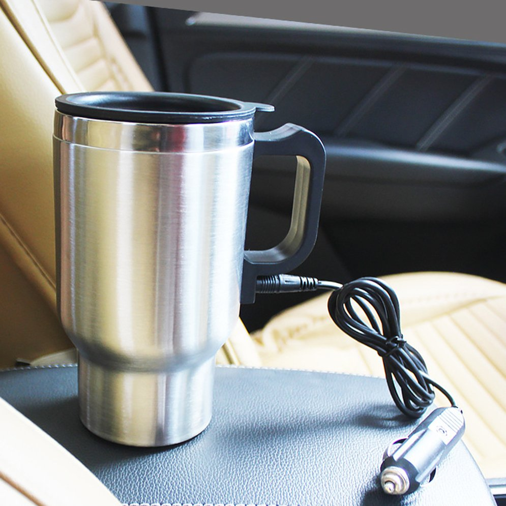 12 V 500ml Stainless Steel Thermos Heating Cup Car Auto Adapter Heated Kettle Travel Mug Auto Accessories Travel Camping