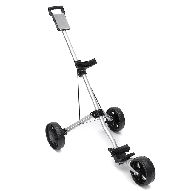 Golf Pull Cart Iron Black Adjustable Golf Trolley Cart 3 Wheels Push Pull Golf Cart Aluminium Alloy Foldable Manual Golf Trolley 6