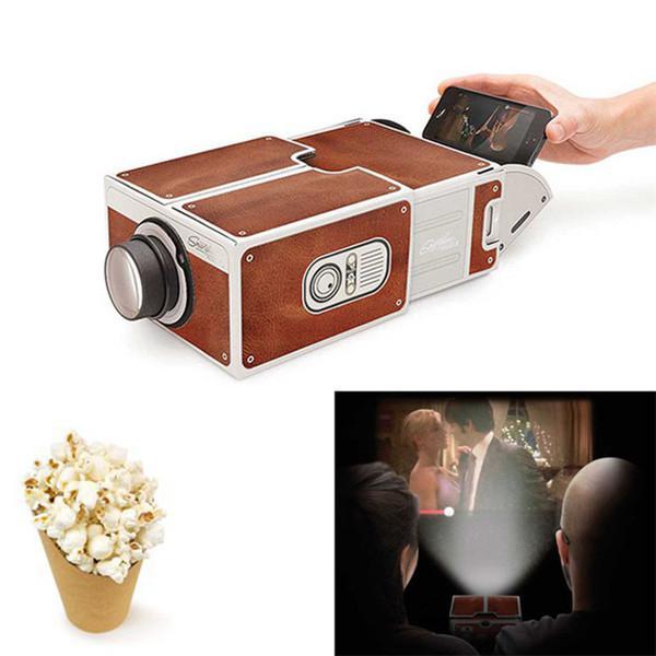 Projetor de papelão para smartphones 3d, cinema portátil, luz ajustável, home theater pico-0