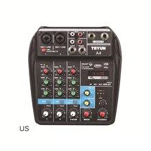 ЕС США штекер Mini 4 Каналы USB портативный Миксер Для для студий с живым звуком аудио DJ микшерная консоль караоке компьютер 48В Мощность