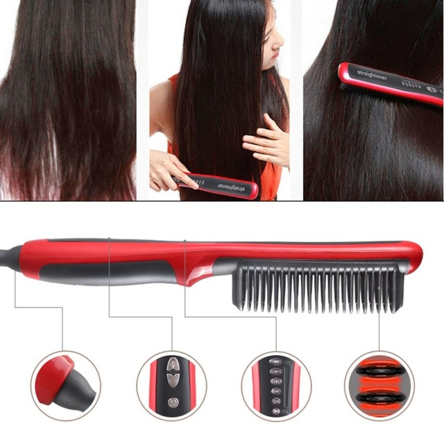 Multifunctional Hair Straightening Heat Hair Ceramic Curler Electric Straightener Hot Comb Hair Care for Men Beard Straightener 1