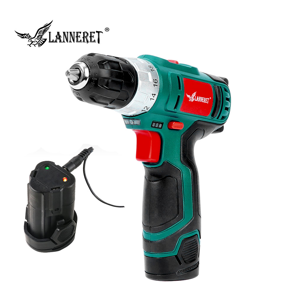 LANNERET 10.8V Electric Cordless Drill 18+1 Torque Setting 2 Speed Rechargeable Wireless Power Driver Power Tool