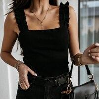 Camisetas sin mangas con cuello cuadrado para mujer, Tops básicos informales de punto liso con volantes ajustados acanalados