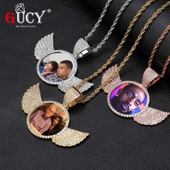 GUCY Custom Made Photo With Sngel Wings Necklace & Pendant 4mm Tennis Chain Gold Silver Color Cubic Zircon Men's Hip hop Jewelry