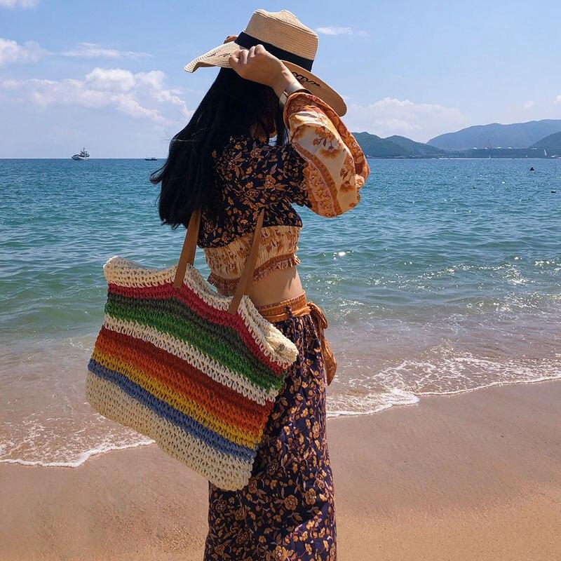 Image 5 - Women Rainbow color Handbag Beach Bag Rattan Woven Handmade Knitted Straw Large Capacity Tote Leather Women Shoulder Bag BohemiaShoulder Bags   -