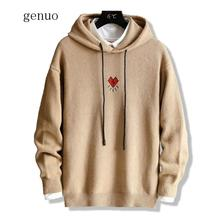 Sweater Men Embroidery Print Long Sleeve Hooded Solid Sweet Winter Sweaters Girls Invierno Knit Oversized Tops