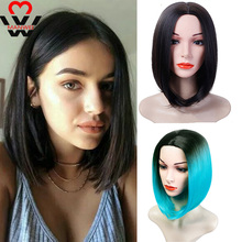 MANWEI Straight Hair Synthetic Lace Front wig Short Bob Wig