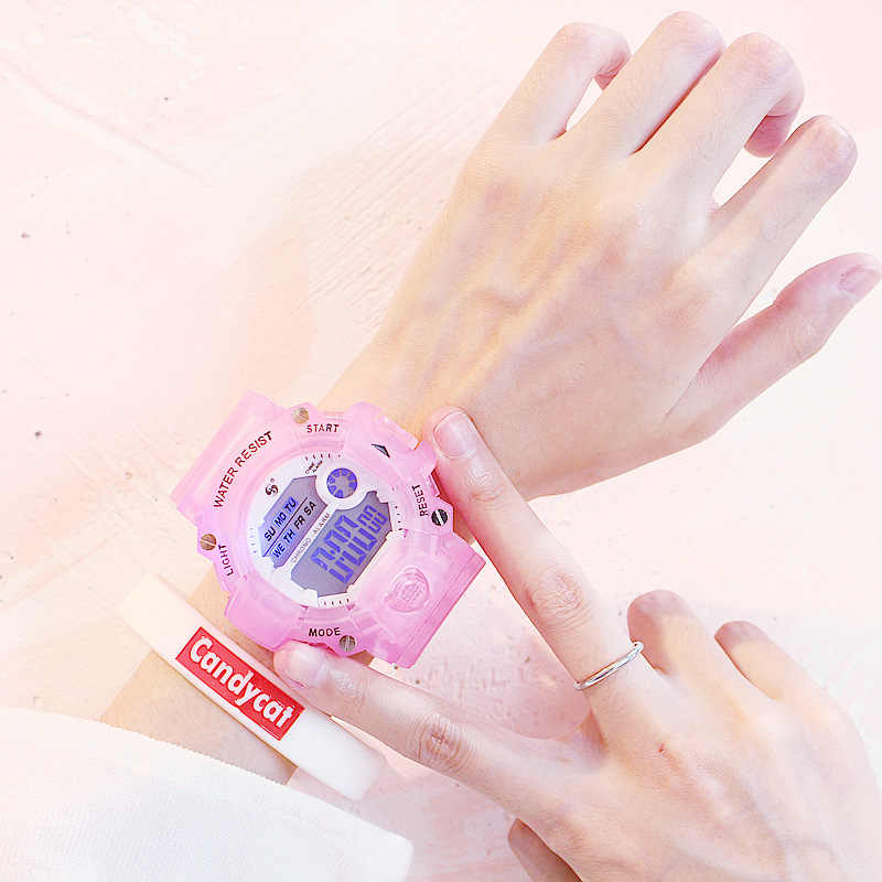 مع سوار موضة السيدات الساعات الرجال النساء الرقمية ساعة رياضية 30 متر مقاوم للماء للجنسين ساعة اليد إنذار Relogio Feminino