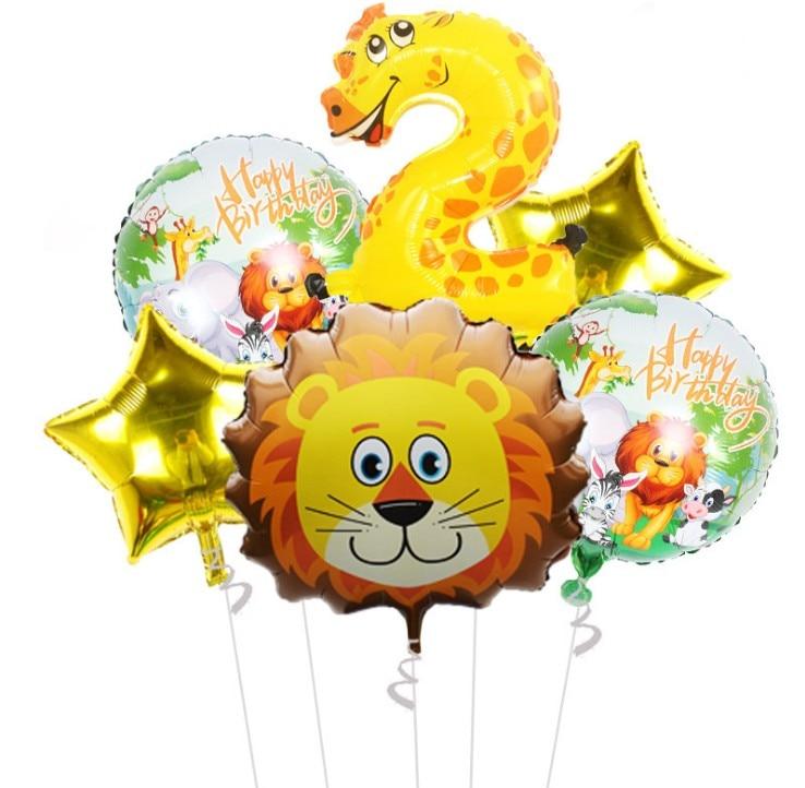 Children's Theme Birthday Party Arrangement Decorative Jungle Animal Ballons Party Supplies Cartoon Hat