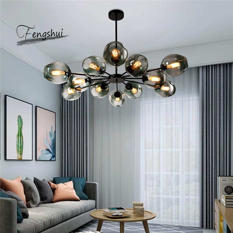 Modern Glass Chandelier LOFT Home Decor Dining Room Hanging Lamp Restaurant Lighting Living Room Chandeliers Indoor Decor