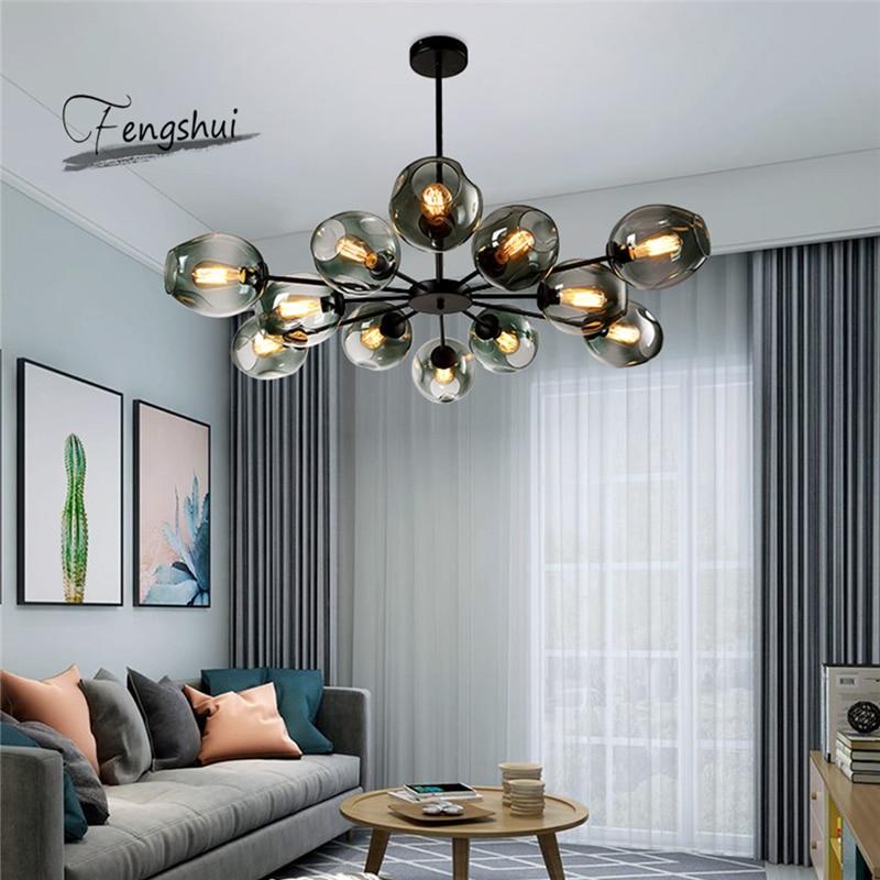 Moderne Glas Kronleuchter LOFT Home Decor Esszimmer Hängen Lampe Restaurant Beleuchtung Wohnzimmer Kronleuchter Indoor Decor