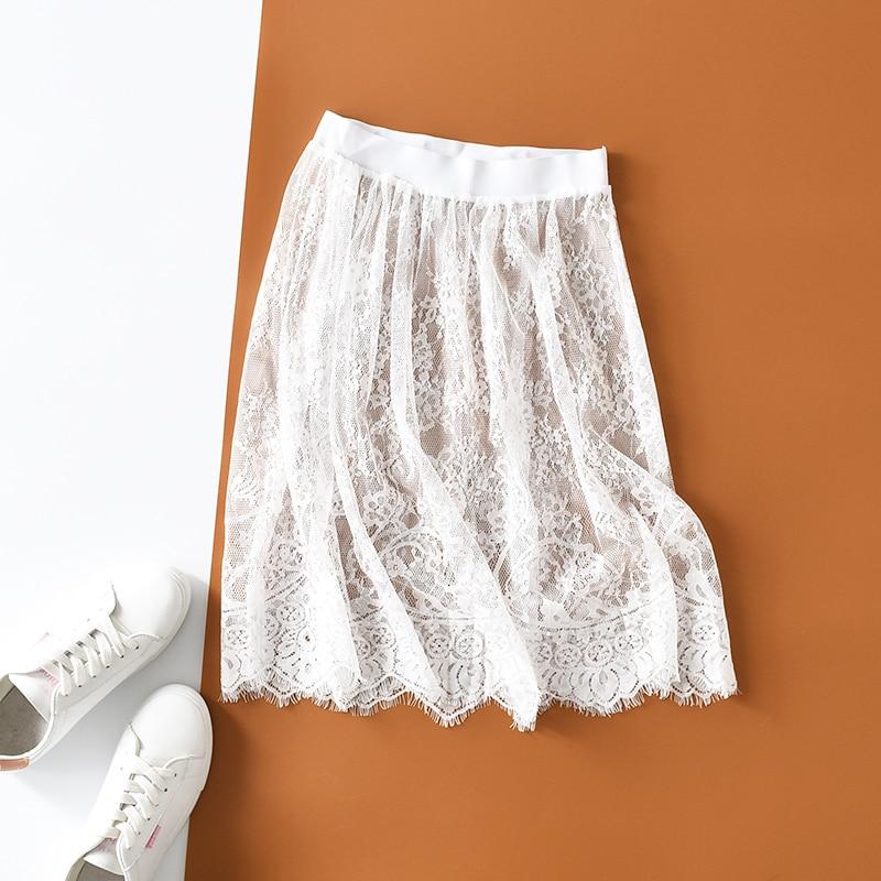 2019 New Fashion Autumn Winter Slips Women Casual Lace Perspective Mini Skirts Ladies Basic Skirt Petticoat Underskirt