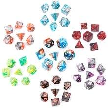 7 шт./компл. акриловые многогранные кости для Аксессуары для настольной игры D4-D20 взрослые дети партии игрушечные игральные кубики