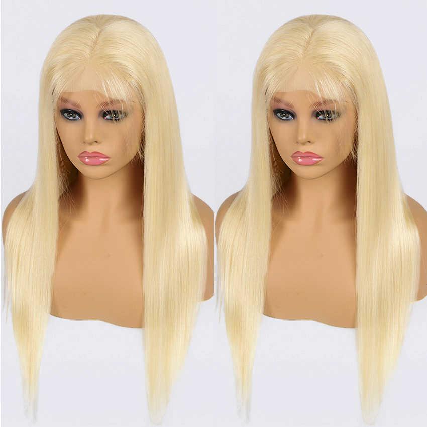 613 kapatma peruk bal sarışın dantel ön peruk ön koparıp perulu düz insan saçı peruk kadınlar için Lemoda Remy 4x4 kapatma peruk