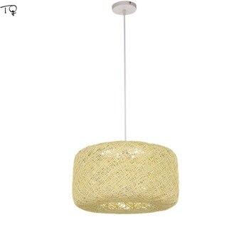 Rattan Weben Kunst Bunte Kürbis Anhänger Lichter Hand Stricken Einfache Individuelle Hängen Lampe Reatanrant Esszimmer Schlafzimmer