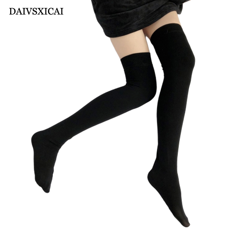 DAIVSXICAI 1Pairs/lot=2Pieces Fashiona With Long Velvet Stockings Women Was Thin Over Knees High Thighs Stockings Ladies