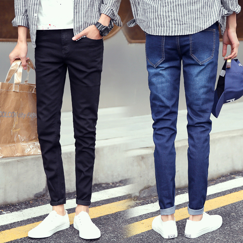 Elasticity Summer Thin Section Men Black Jeans Slim Fit Pants Casual Pants Men's Korean-style Trend Hot Selling Trousers