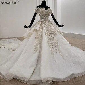 Image 4 - Weiß Schatz Kurzen Ärmeln Luxus Hochzeit Kleider 2020 Perlen Suquins Sexy Dubai Brautkleider HX0070 Nach Maß