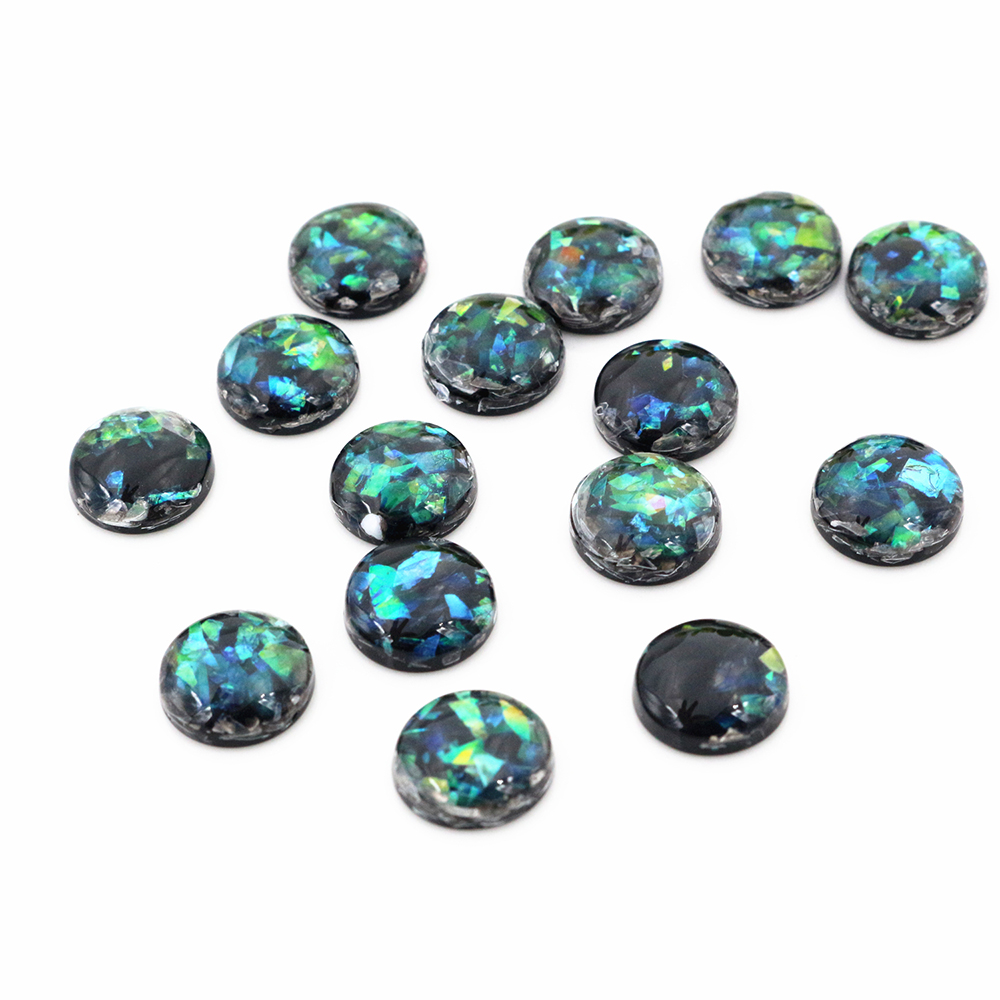 New Fashion 10mm 40pcs/Lot Black Color Built-in Metal Foil Flat Back Resin Cabochons Cameo V7-13