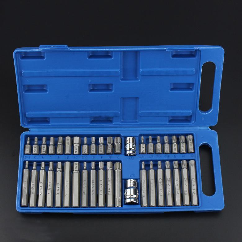 40Pcs 1 2in 3 8in Adaptor Drive Shank Hex Torx XZN Spline Star Impact Socket Set Metric Socket Set Ratchet Driver Socket Wrench