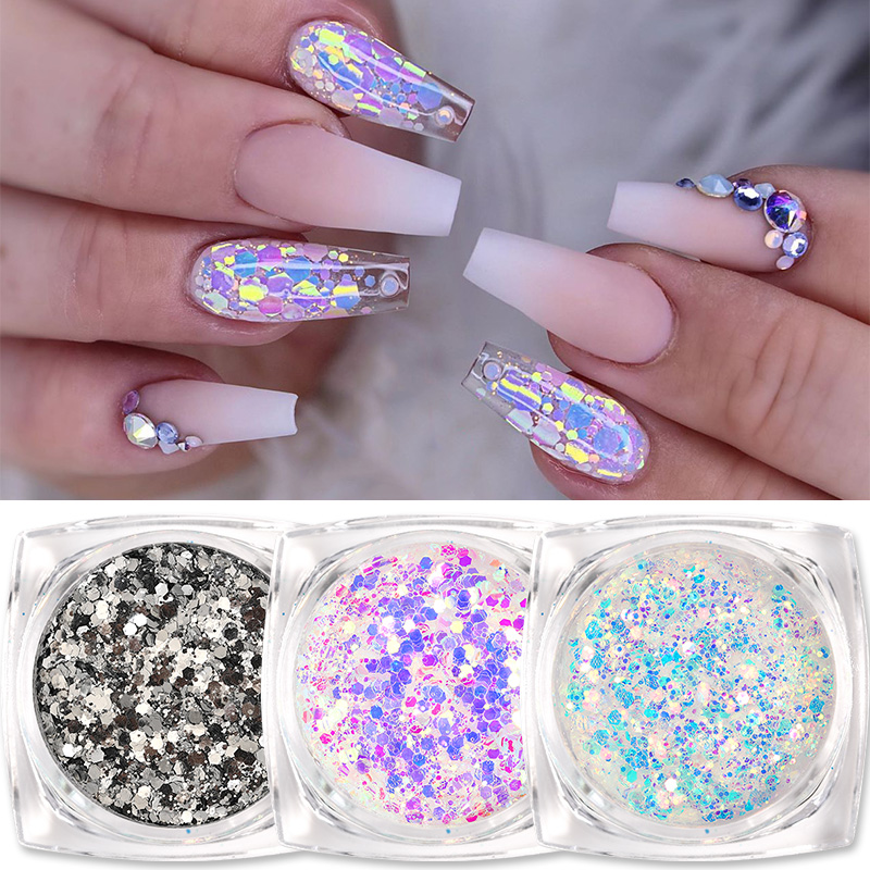 1 Box Colorful Sequins Nail Art Glitter Flakes UV Gel Polish Star Heart Flower Paillette Decor Tools Decorations Accessories