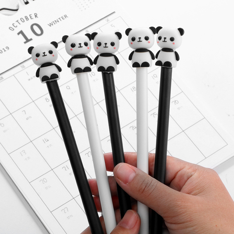 2 PCS/lot Creative Cute Panda Gel Pen Set Kawaii Cartoon Black Liquid-ink Writing Pens Office School Stationary Supplies 04290