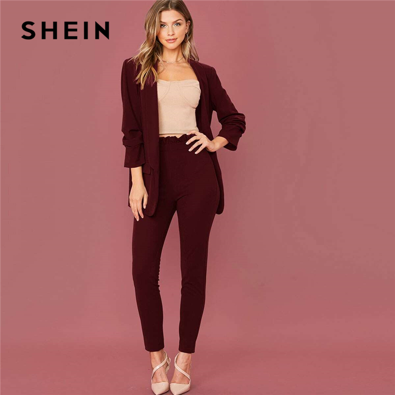 SHEIN Burgundy Shawl Collar Solid Blazer and Paperbag Waist Pants Suit Set Women Spring Elegant Office Lady Two Pieces Sets 1