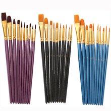 Artist Paint Brush Set 10Pcs High Quality Nylon Hair Wood Black Handle Watercolor Acrylic Oil Brush Painting Art Supplies