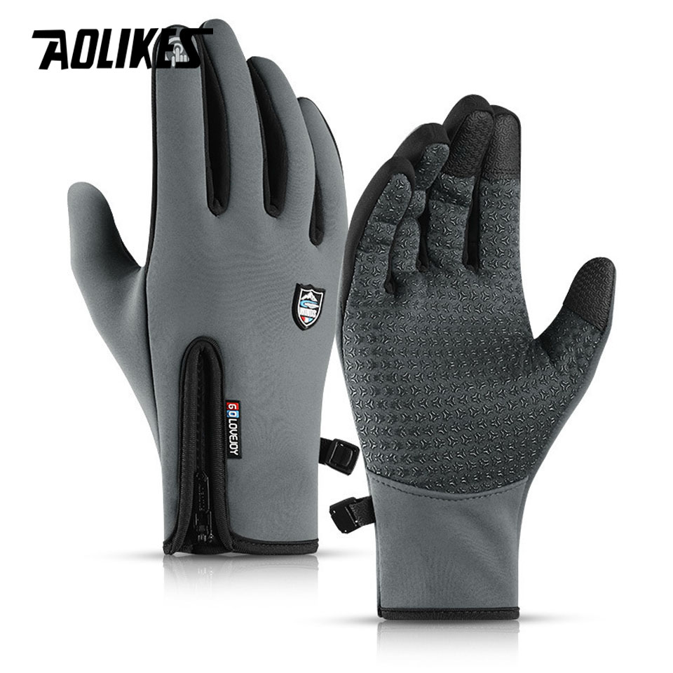 AOLIKES Anti-slip Snowboard Ski Gloves Thermal Waterproof Touch Sreen Skiing Gloves Snow Winter Bike Cycling Bicycle Gloves Men