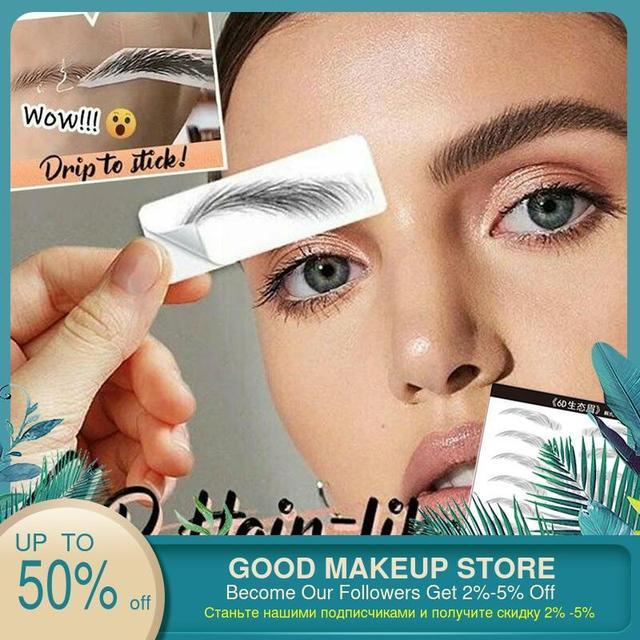 2020 4D Hair-like Eyebrow Tattoo Sticker False Eyebrows Waterproof Lasting Makeup Water-based Eye Brow Stickers Cosmetics Tools