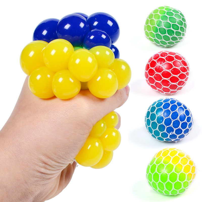 4 Style Cute Anti Stress Face Reliever Grape Ball Two-color In One Pectin TPR Vent Ball Funny Decompression Toy For Student Gift